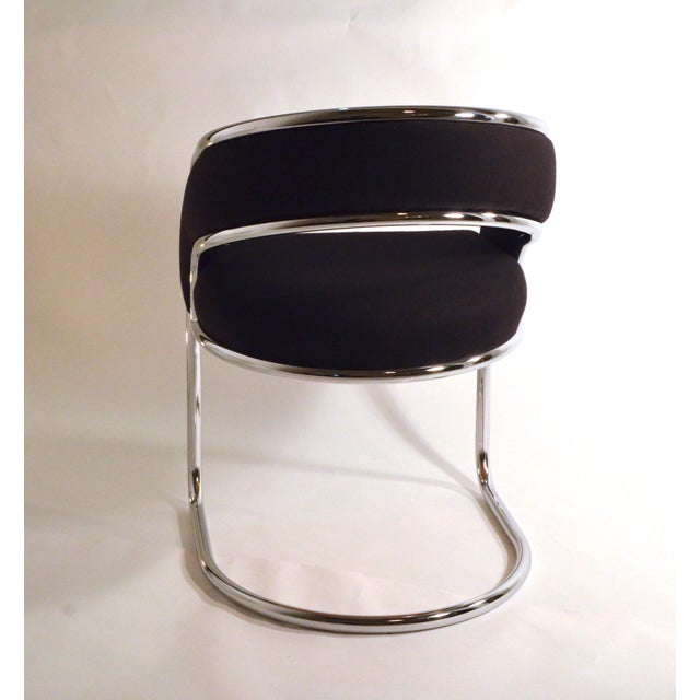 Set of Four Contemporary Shells Inc. Upholstered Chrome Sling Back Dining Chairs - Image 3 of 5