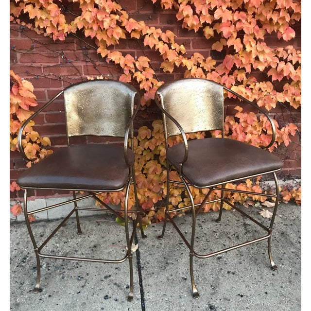 Vintage Bronze Bar Stools - a Pair - Image 6 of 6