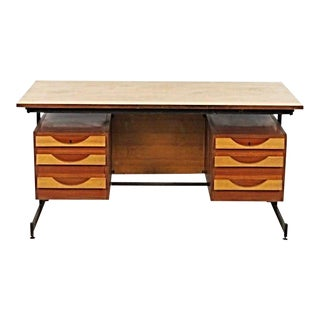 Mid-Century Modern Teak & Iron Writing Desk