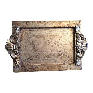 Vintage Silvered Gilt Carved Florentine Tray