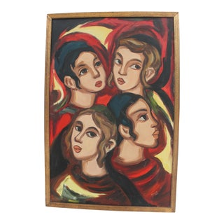 1968 Female faces Oil Painting By Israel Galili.