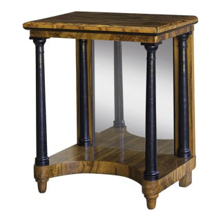 Antique Austrian Biedermeier Period Walnut Console Table, Mirrored Back, circa 1825