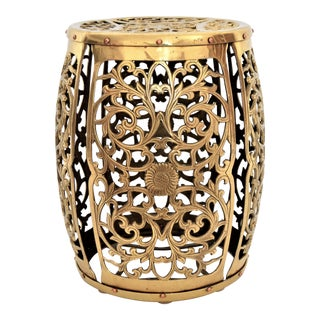 Mid-Century Modern Asian Brass Fretwork Garden Stool