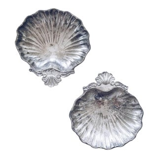 Silverplate Clam Shell Trinket Dishes - A Pair