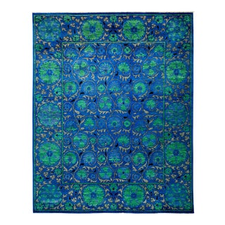 """Blue Suzani Hand-Knotted Rug - 8' 1"""" x 10'"""