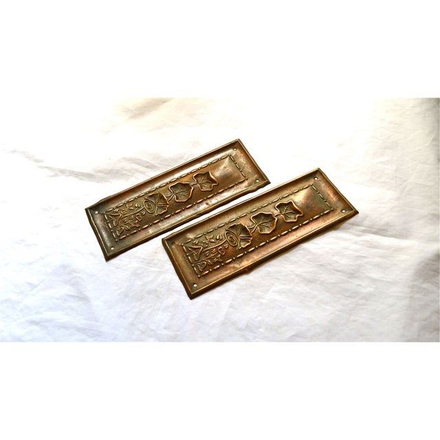 1910 Art Nouveau Copper Lotus Door Push Plates - Image 9 of 9
