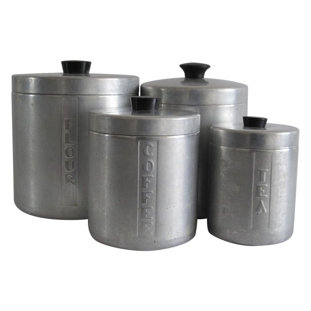 Image of Mid-Century Aluminum Kitchen Canisters - Set of 4
