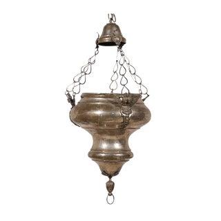European 19th Century Nickel over Brass Hanging Church Lantern