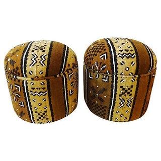Malian Bogolan Ottomans - Pair