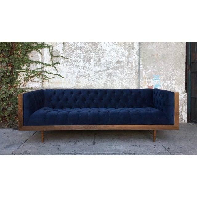 Blue Tufted Walnut Framed Sofa - Image 2 of 5