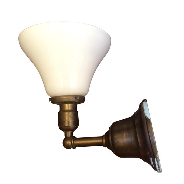 Brass Wall Sconce With Glass Shade : Library Style Brass Wall Sconce W Milk Glass Shade Chairish