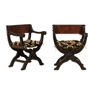 "Pair of Italian ""Dante"" Style Wooden Chairs with Leather Back and Seat"