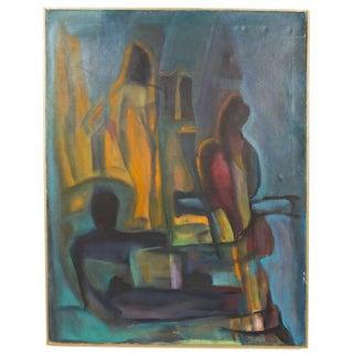Mid-Century Modern Blue Abstract Artwork