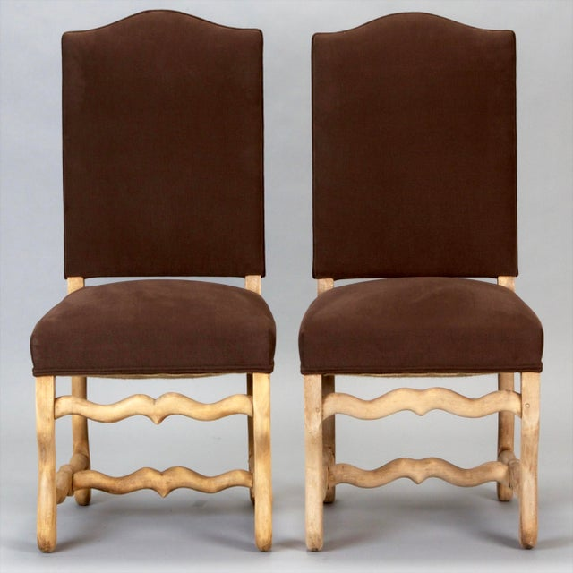 Set of 6 French Os De Mouton Louis XIII Bleached Oak Upholstered Dining Chairs - Image 2 of 8