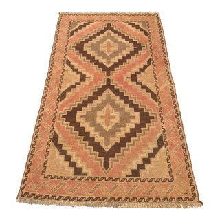 "Vintage Kurdish Earth Tone Rug - 3'6"" x 6'7"""