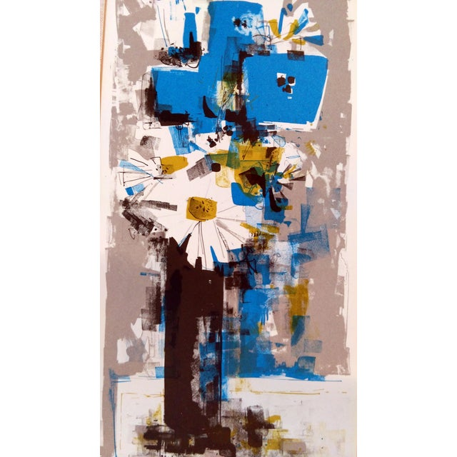 Image of Mid-Century Abstract Floral Still Life Serigraph