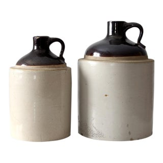 Antique Stoneware Crock Jugs - A Pair