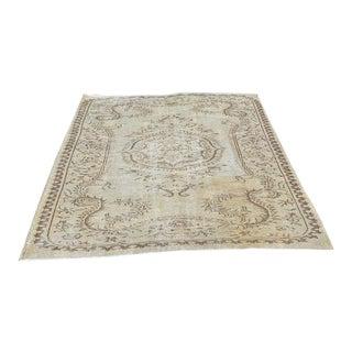 Overdyed Beige Oushak Carpet - 4′11″ × 8′3″