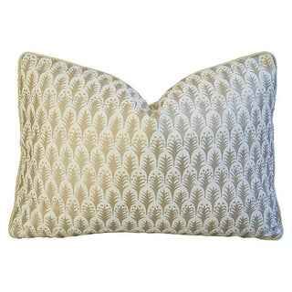 Italian Gold and Ivory Fortuny Piumette Pillow