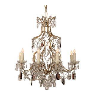 Gustavian Style Purple, Grey and Clear Crystal Antique Scandinavian Chandelier circa 1900