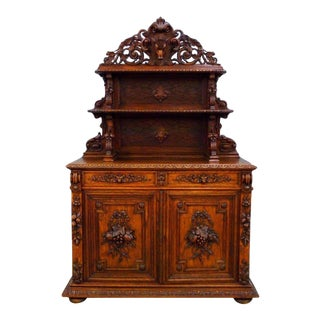 19th C. Hand Carved French Oak Buffet