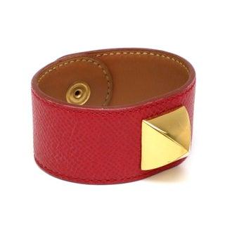 Hermes Medor Leather & Metal Cuff Bracelet