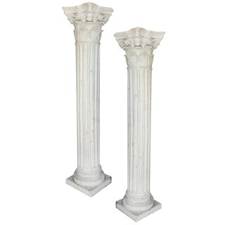 Plaster Corinthian Columns - A Pair