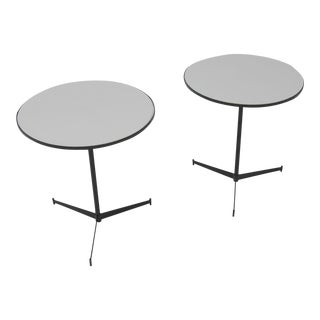Pair of Iron and Vitrolite Side Tables by Paul Mccobb
