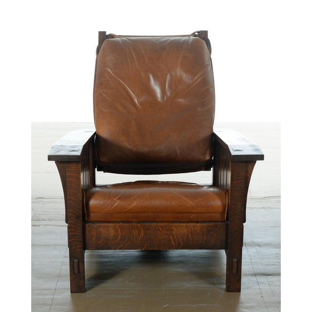 Warren Hile Studio Oak Morris Chair, Brown Leather - Image 3 of 10
