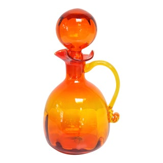 Vintage Tangerine Decanter with Stopper
