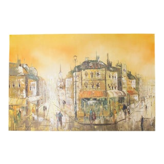 Impressionist Painting of a European Cityscape at Sunset