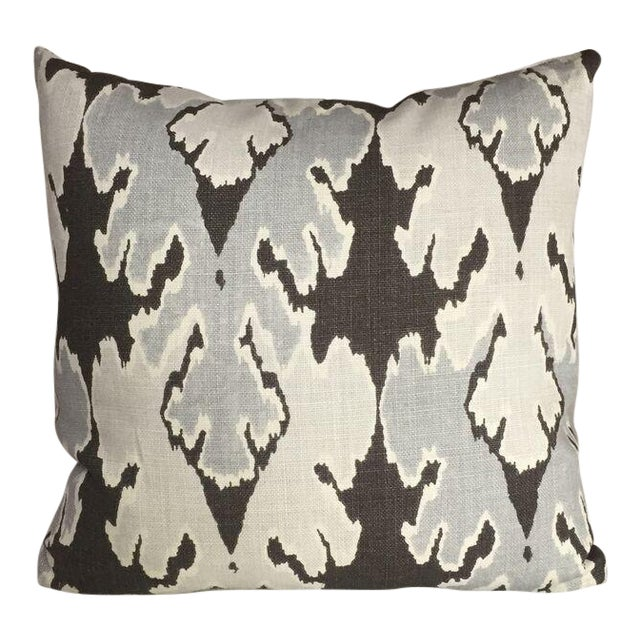 Kim Salmela Brown/ & Gray Ikat Pillow - Image 1 of 3