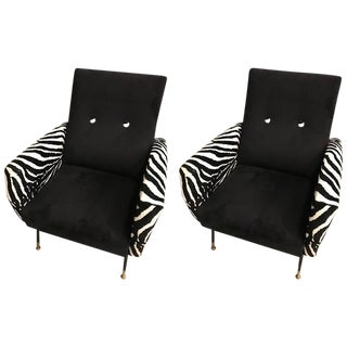 Mid-Century Metal Club Chairs with Faux Zebra Print - A Pair