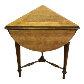 Transitional Antique Tri Leaf Folding Side Table