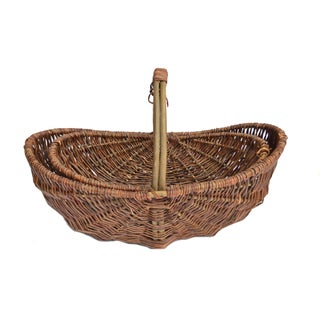 Vintage French Willow Basket - A Pair