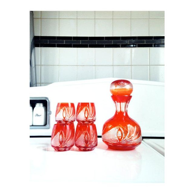 Red Bohemian Glass Decanter Set - Image 2 of 6