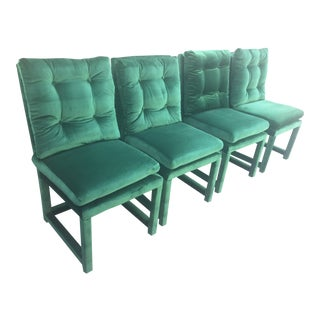 Milo Baughman Style Green Velvet Parsons Dining Chairs - Set of 4