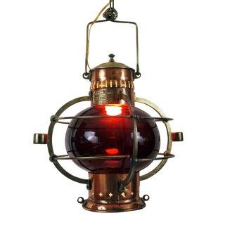 19th C. French Red Glass Nautical Lantern