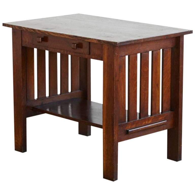 Arts U0026 Crafts Mission Style Oak Library Table