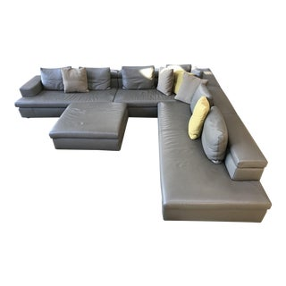 Swan Italian Leather Sectional With Ottoman