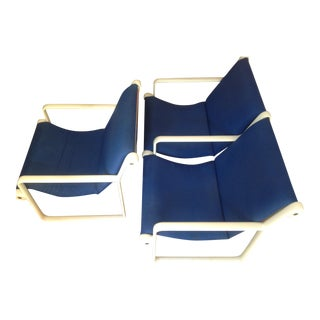 Knoll Blue Settee and Chair