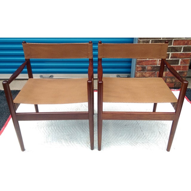 Rosewood Sling Chairs - Set of 4 - Image 4 of 8