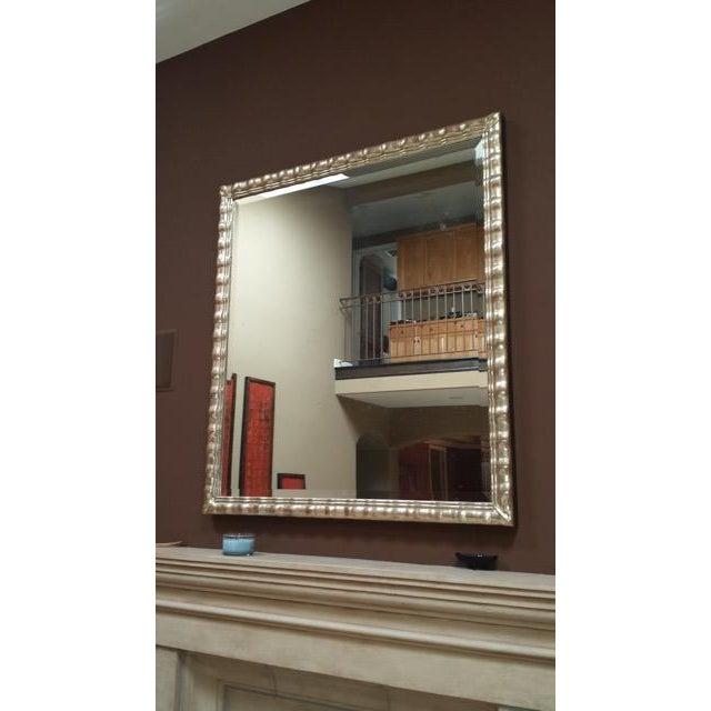 Huge White Gold Wood Mirror, Bevel Antique Finish - Image 3 of 8