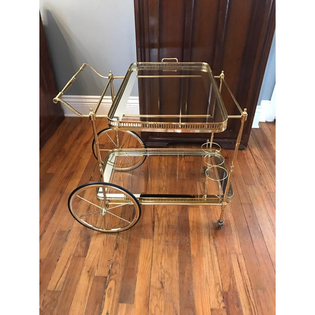 Vintage Brass & Glass Bar Cart - Image 3 of 8