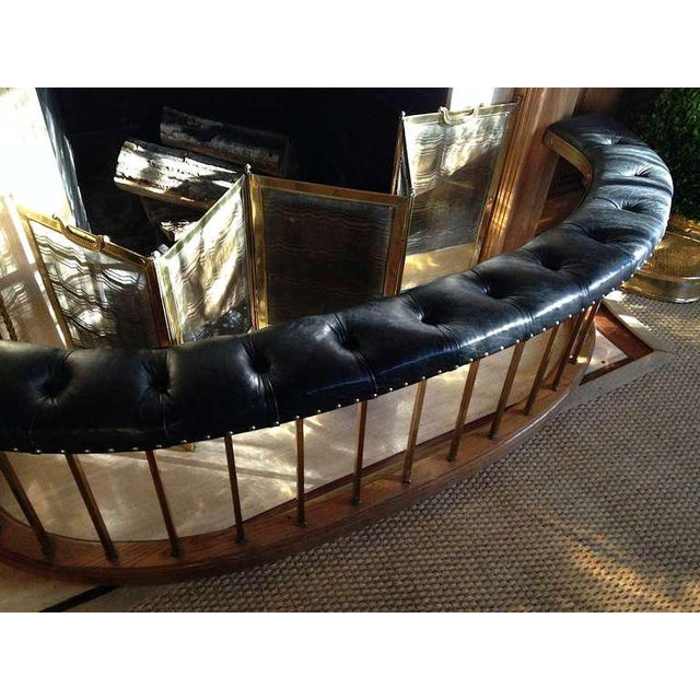 Bow-Shape French Fireside Club Fender with Black Leather Tufted Seat - Image 4 of 9