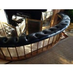 Image of Bow-Shape French Fireside Club Fender with Black Leather Tufted Seat