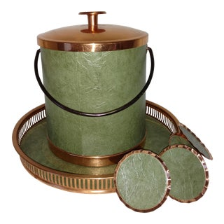 Coppercraft Guild Green Leather Bar Set