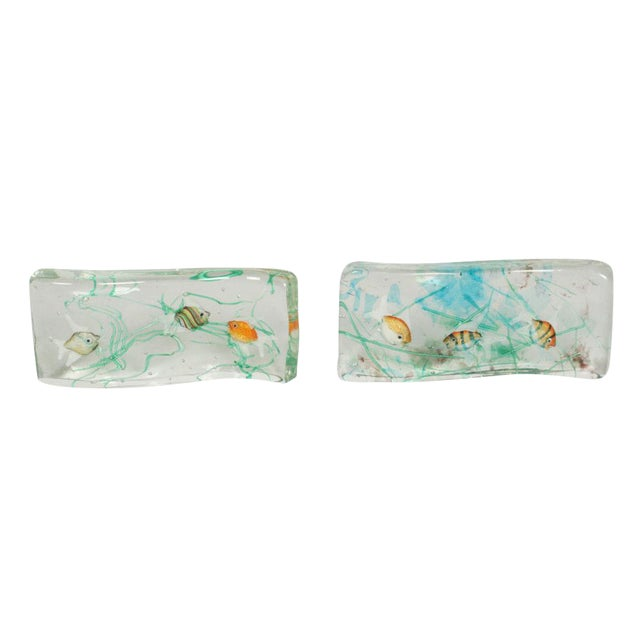 Alfredo Barbini Cenedese Glass Fish Blocks - a Pair - Image 1 of 7