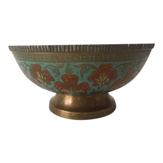 Vintage Brass Enameled Middle Eastern Floral Bowl