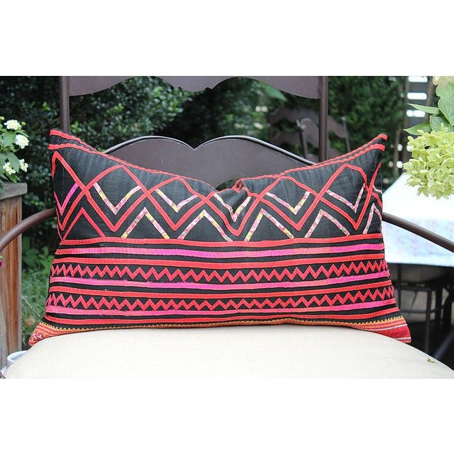 """Vintage Hmong Black and Pink Pillow - 23"""" x 12"""" - Image 2 of 3"""